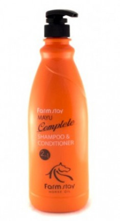 Шампунь-кондиционер с лошадиным маслом FARMSTAY Mayu complete shampoo&conditioner 2-in-1 1000мл