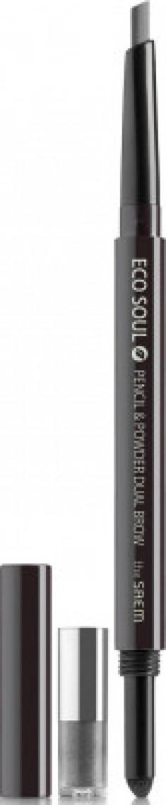 Карандаш-пудра для бровей THE SAEM Eco Soul Pencil & Powder Dual Brow 03 black gray 0,5г*0,3г