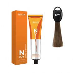 Ollin N-JOY 8/73 светло–русый коричнево–золотистый перманентная крем-краска для волос 100мл OLLIN PROFESSIONAL