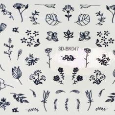 Anna Tkacheva, 3D-стикер №047 «Цветы. Листья», черный
