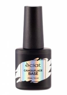 Каучуковое базовое покрытие для ногтей ECLAT CAMOUFLAGE BASE, 004 розовый 15 мл